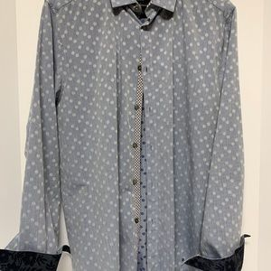 Ted Baker Dress Blue and Dot Shirt with Navy Trim
